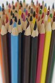 stock photo of homogeneous  - Sharpened colored pencils photographed on a homogeneous white background - JPG