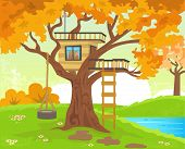 stock photo of tire swing  - Cute tree house with a tire swing - JPG