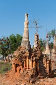 picture of shan  - Ruins of ancient Burmese Buddhist pagodas in the village of Indein on Inlay Lake in Shan State Myanmar  - JPG
