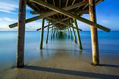 pic of inlet  - The Bogue Inlet Pier at Emerald Isle North Carolina is photographed here with a very long exposure - JPG