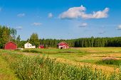 picture of barn house  - red houses in a rural landscape in Finland - JPG