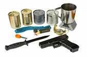 pic of survival  - Survival kit with emergency supplies and gun - JPG