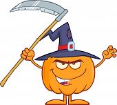 stock photo of scythe  - Scaring Halloween Pumpkin With A Witch Hat And Scythe Cartoon Mascot Character - JPG