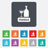stock photo of fragile sign  - Fragile parcel sign icon - JPG