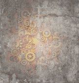 picture of steampunk  - Steampunk grunge background as a rustic texture science fiction concept made of dirty metal copper gears and cogs as a technology symbol of futuristicscifi theme machine with copy space - JPG