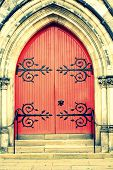 stock photo of entryway  - An old wooden red Church Door and steps - JPG