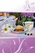 stock photo of tea party  - Tea party in summer garden with border design - JPG
