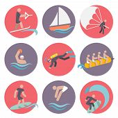 stock photo of ski boat  - Water sports flat icons set with skiing sailboat wakeboarding isolated vector illustration - JPG