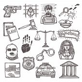 stock photo of jury  - Law justice and legislation icon sketch set isolated vector illustration - JPG