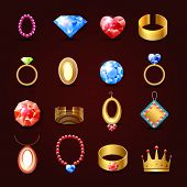 stock photo of jewelry  - Jewelry icons set of diamond gold fashion expensive accessories isolated vector illustration - JPG