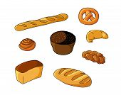 stock photo of pretzels  - Set of cartoon bread bakeries with bread - JPG