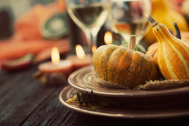 pic of banquet  - Autumn table setting with pumpkins - JPG