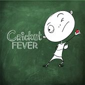 picture of cricket  - Funny cartoon of a boy ready to throw the Cricket ball on chalk borad background for sports concept - JPG