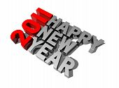 stock photo of new years celebration  - three dimensional 2011 happy new year message - JPG