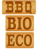 picture of nameplates  - Nameplate of wood with words BBQ BIO ECO - JPG