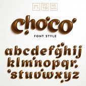 picture of alphabet  - Vector latin alphabet made of chocolate - JPG