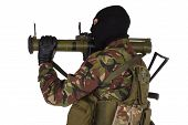 picture of akm  - Ukrainian volunteer with RPG grenade launcher isolated on white - JPG