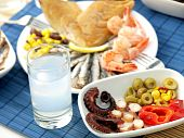 stock photo of ouzo  - Misc seafood and greek alcohol drink ouzo