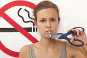 stock photo of smoking  - Woman - JPG