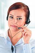 stock photo of helpdesk  - Call center operator in the office - JPG