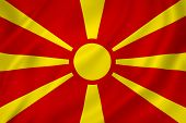 foto of macedonia  - Macedonia national flag background texture full frame - JPG