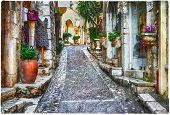 stock photo of charming  - charming old streets of Provence villages - JPG