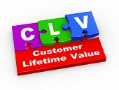 stock photo of time-piece  - 3d rendering of puzzle pieces presentation of clv  - JPG