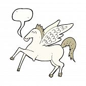 image of pegasus  - cartoon pegasus with speech bubble - JPG