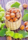 stock photo of hazelnut  - hazelnuts on a table - JPG