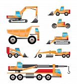image of dump-truck  - different types of trucks and excavators icons  - JPG