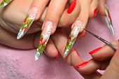 pic of nail-design  - Master draws design floral on female nails - JPG