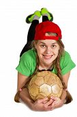 pic of prone  - girl with ball lie prone isolated on the white - JPG