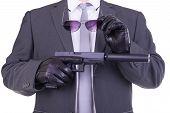 image of glock  - Elegant gangster holding gun - JPG
