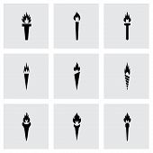 pic of torches  - Vector torch icon set on grey background - JPG
