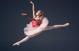 stock photo of ballerina  - Beautiful female ballet dancer on a grey background - JPG