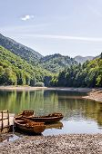 stock photo of pier a lake  - Summer picture of lake with boats and pier - JPG