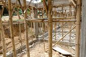 stock photo of scaffold  - the scaffold and building structure during construction - JPG