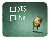 pic of yes  - man take a decision between yes or no - JPG