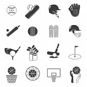 pic of volleyball  - Sport icons black set with tennis baseball and volleyball equipment isolated vector illustration - JPG