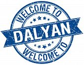 stock photo of dalyan  - welcome to Dalyan blue round ribbon stamp - JPG