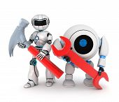 stock photo of rework  - Robot and red key  - JPG