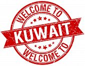 foto of kuwait  - welcome to Kuwait red round ribbon stamp - JPG
