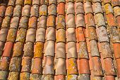 stock photo of red roof  - Background of old red roof tiles - JPG