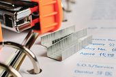image of staples  - Staples on white paper business background office object - JPG