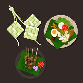 picture of malaysian food  - lebaran ketupat idul fitri ied food sate opor ayam vector asian food - JPG
