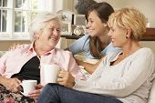 pic of visitation  - Adult Daughter With Teenage Granddaughter Visiting Grandmother - JPG