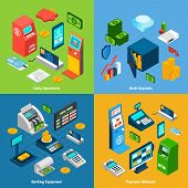stock photo of payment methods  - Banking design concept set with daily operations deposits equipment payment methods isometric icons isolated vector illustration - JPG