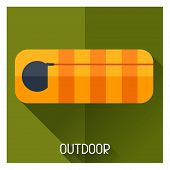 stock photo of sleeping bag  - Tourist creative illustration of sleeping bag in flat style - JPG