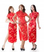 picture of traditional dress  - Group of Chinese women dress traditional cheongsam at New Year - JPG