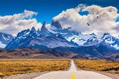 pic of snow capped mountains  -  The highway crosses the Patagonia and leads to snow - JPG